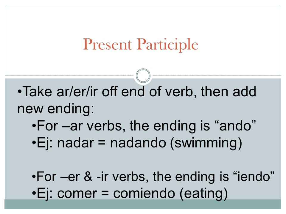 Present Participle Take ar/er/ir off end of verb, then add new ending: