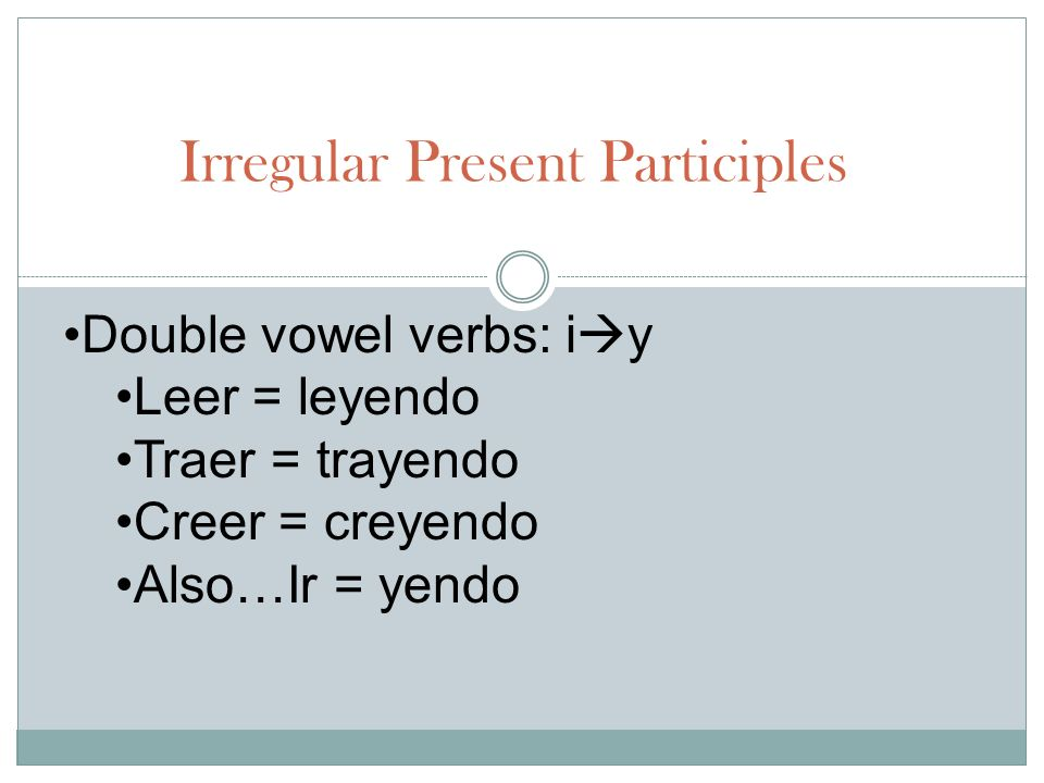 Irregular Present Participles