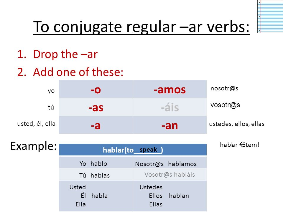 To conjugate regular –ar verbs: