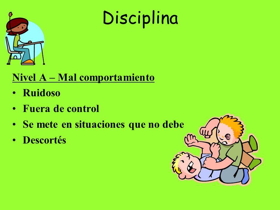 Disciplina Nivel A – Mal comportamiento Ruidoso Fuera de control