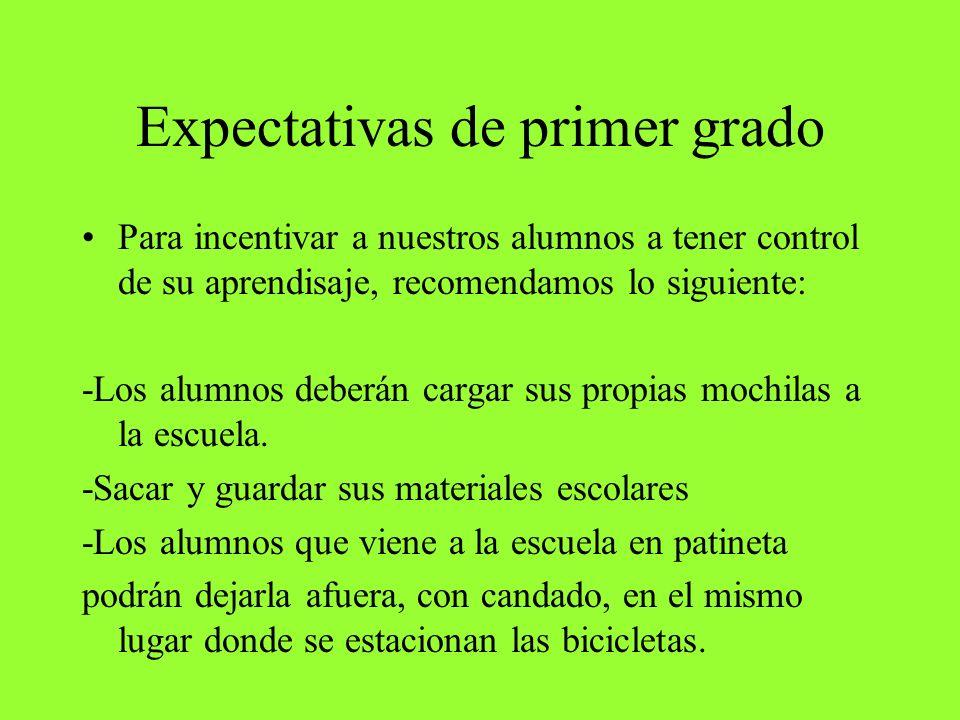 Expectativas de primer grado
