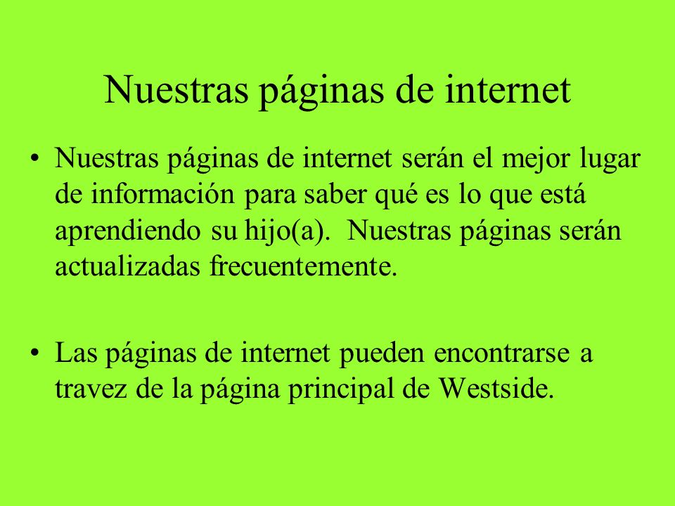 Nuestras páginas de internet