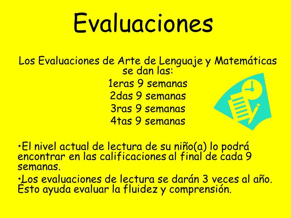 Los Evaluaciones de Arte de Lenguaje y Matemáticas se dan las: