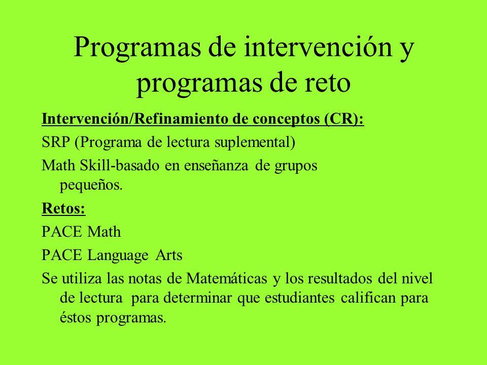 Programas de intervención y programas de reto