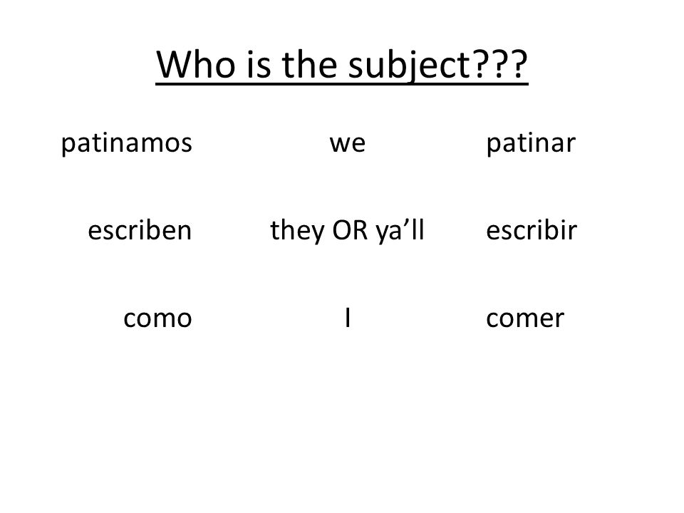 Who is the subject patinamos escriben como we they OR ya'll I