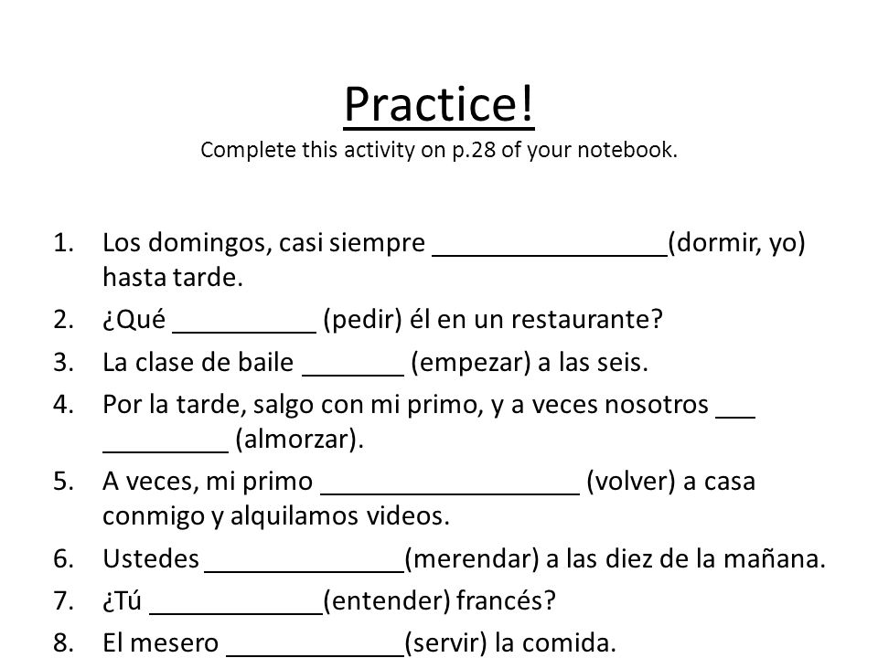 Practice! Complete this activity on p.28 of your notebook.