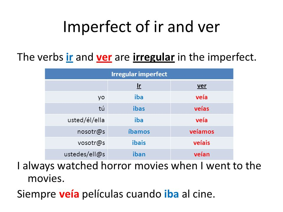 Imperfect of ir and ver