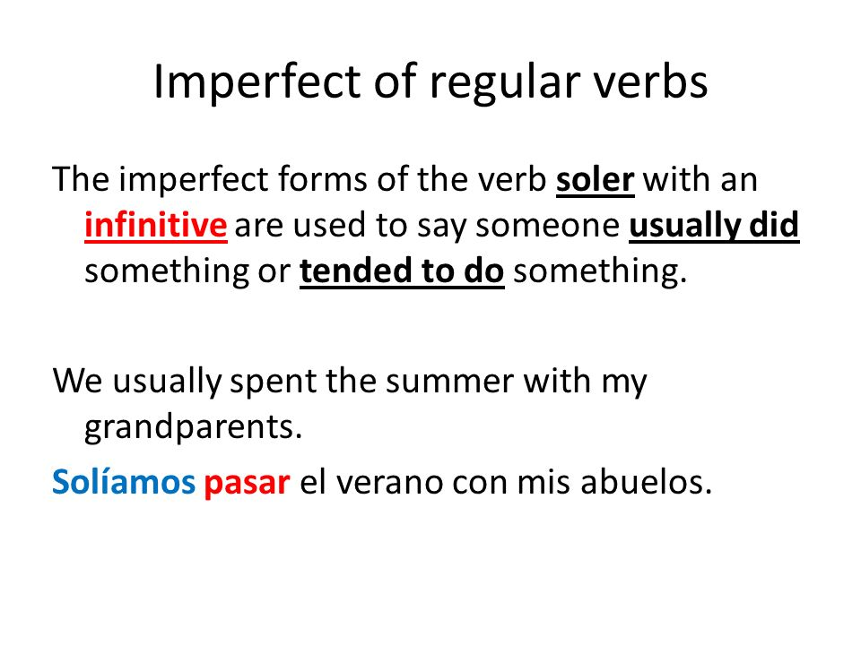 Imperfect of regular verbs