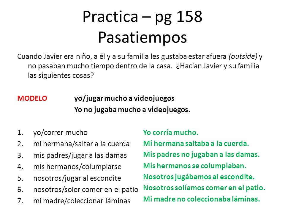 Practica – pg 158 Pasatiempos