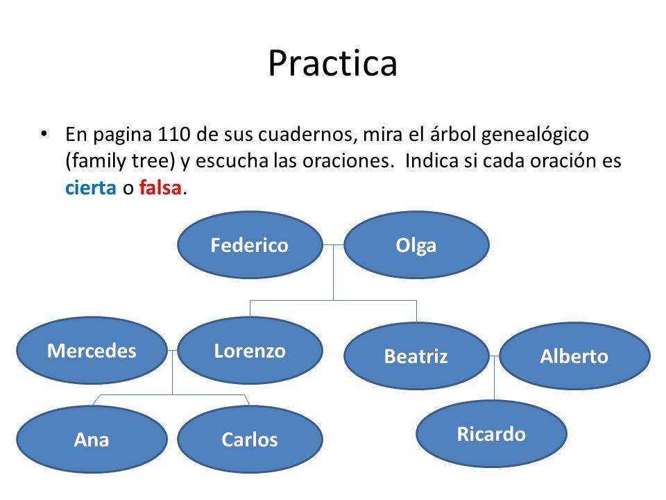 Practica En pagina 110 de sus cuadernos, mira el árbol genealógico (family tree) y escucha las oraciones. Indica si cada oración es cierta o falsa.