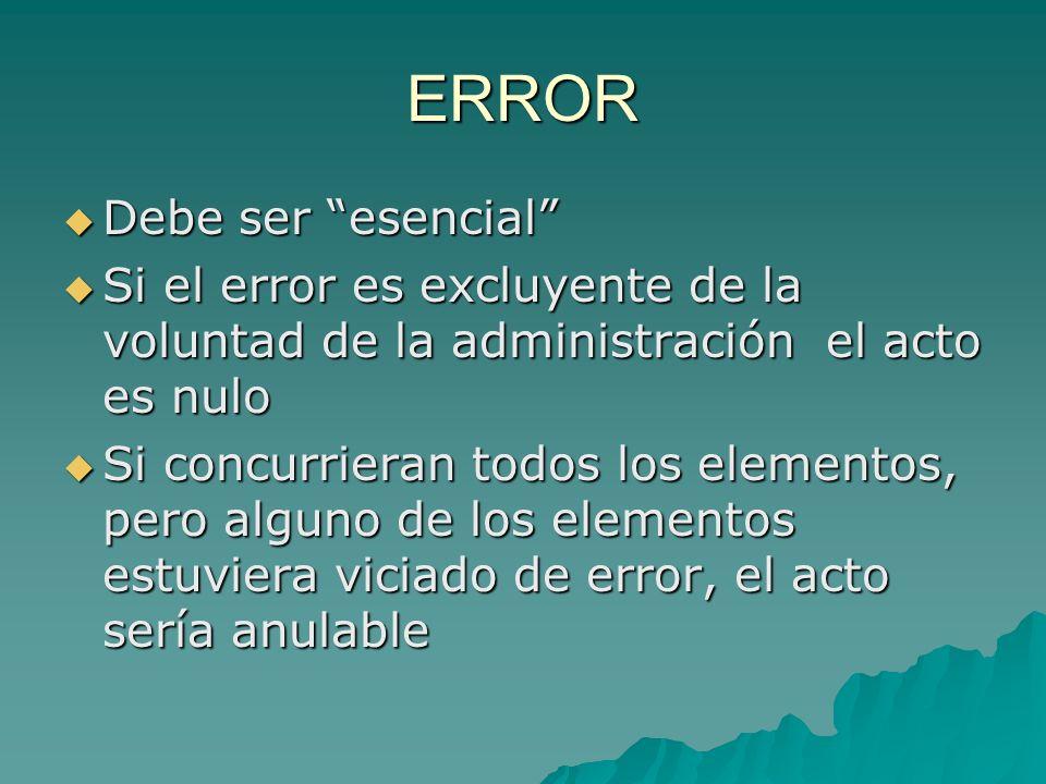 ERROR Debe ser esencial