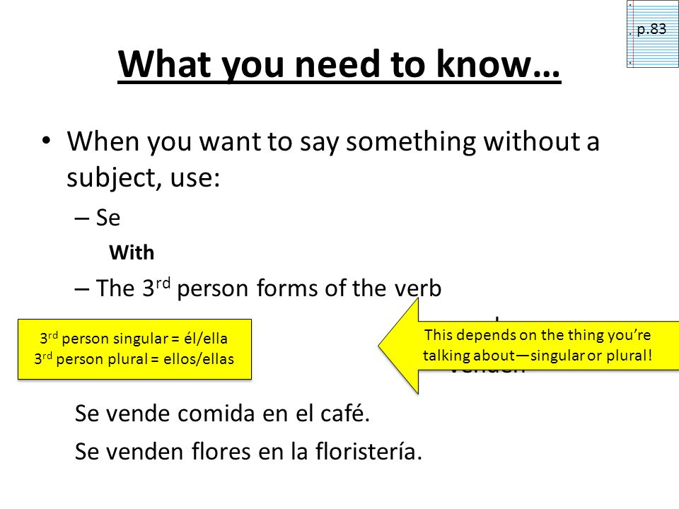 p.83 What you need to know… When you want to say something without a subject, use: Se. With. The 3rd person forms of the verb.