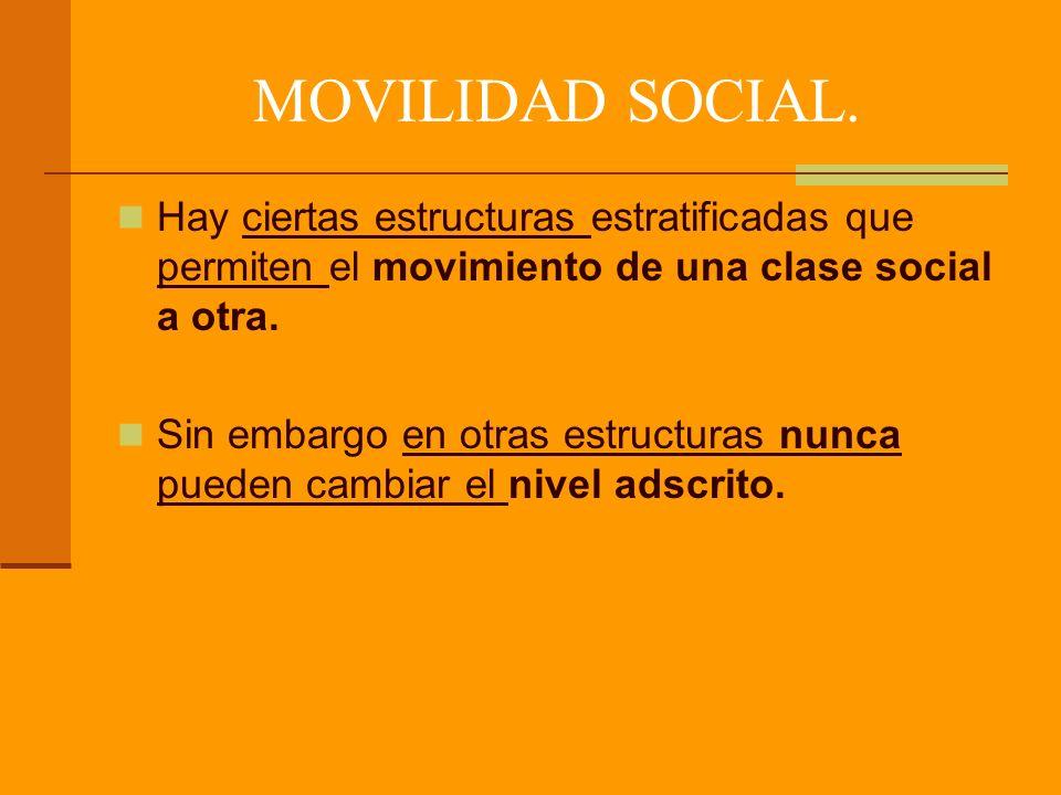 MOVILIDAD SOCIAL. Hay ciertas estructuras estratificadas que permiten el movimiento de una clase social a otra.