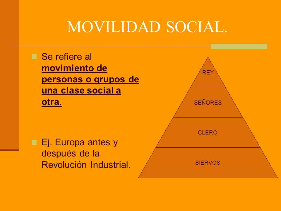 MOVILIDAD SOCIAL. Se refiere al movimiento de personas o grupos de una clase social a otra.