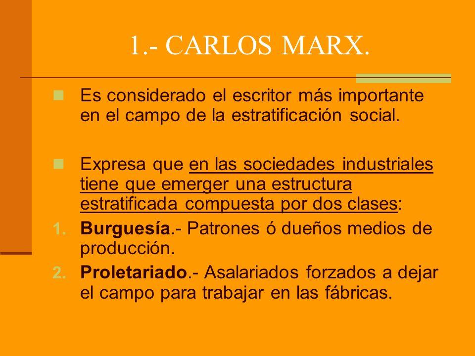 1.- CARLOS MARX. Es considerado el escritor más importante en el campo de la estratificación social.