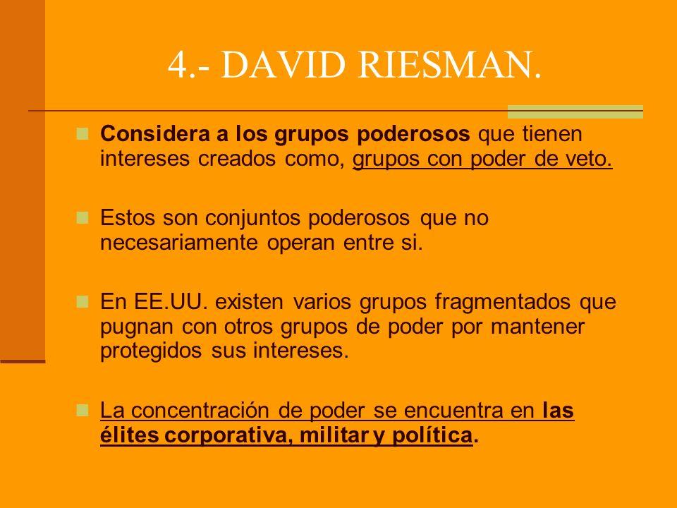 4.- DAVID RIESMAN. Considera a los grupos poderosos que tienen intereses creados como, grupos con poder de veto.