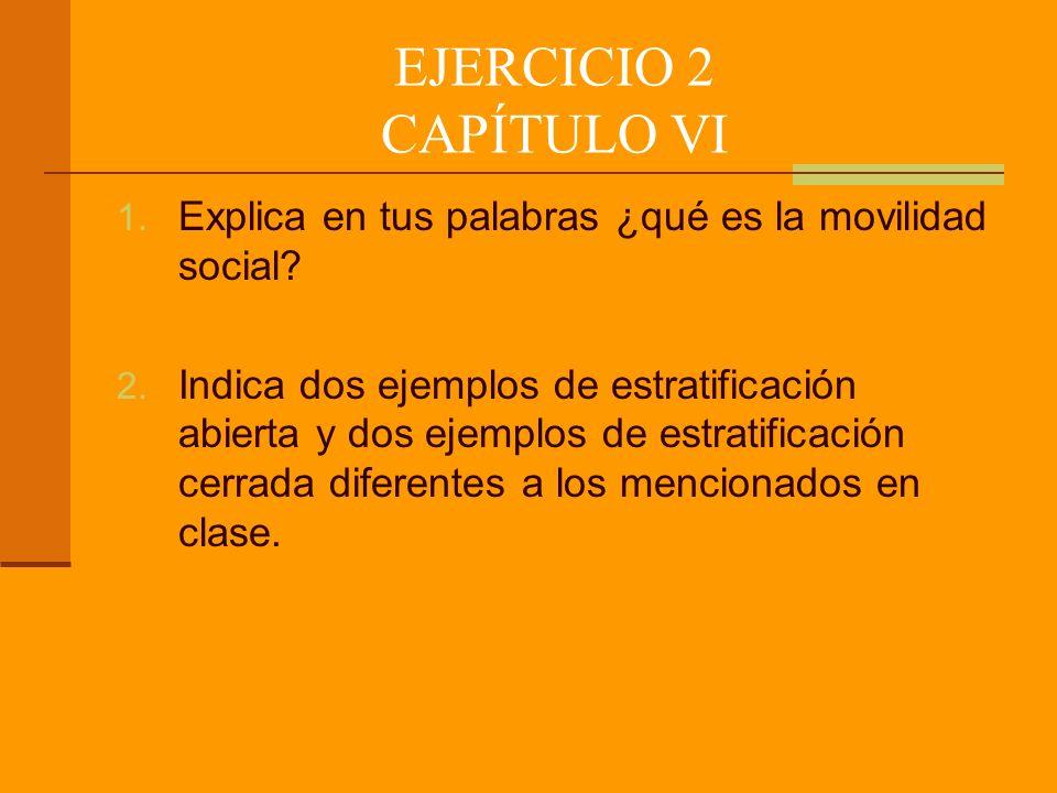 EJERCICIO 2 CAPÍTULO VI Explica en tus palabras ¿qué es la movilidad social