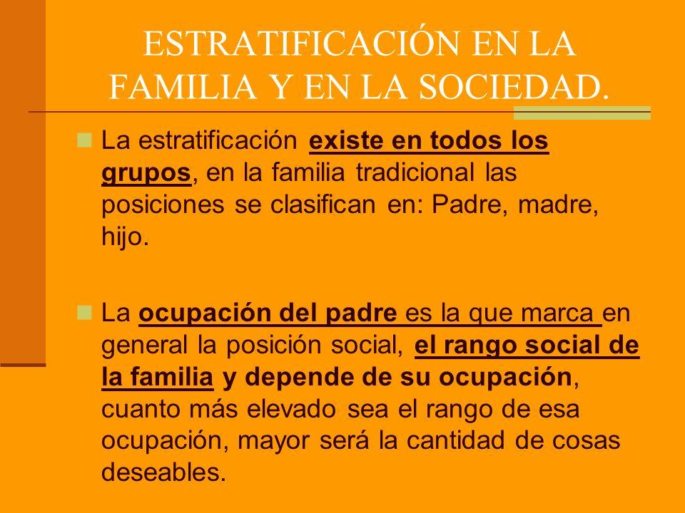 ESTRATIFICACIÓN EN LA FAMILIA Y EN LA SOCIEDAD.