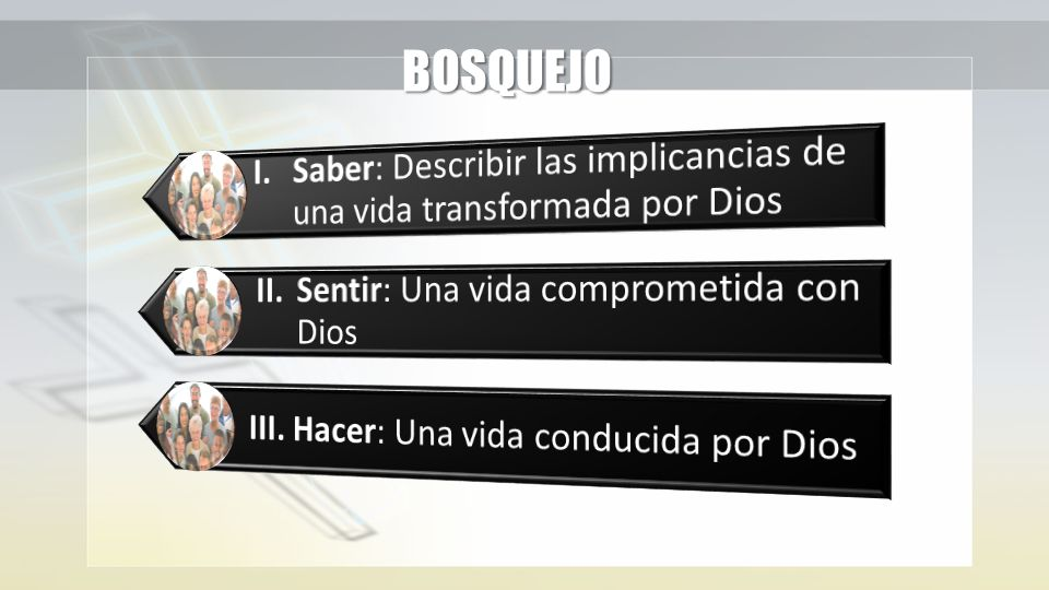BOSQUEJO I. Saber: Describir las implicancias de una vida transformada por Dios. II. Sentir: Una vida comprometida con Dios.
