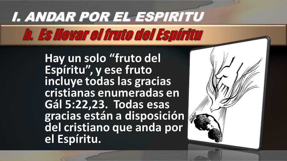b. Es llevar el fruto del Espíritu