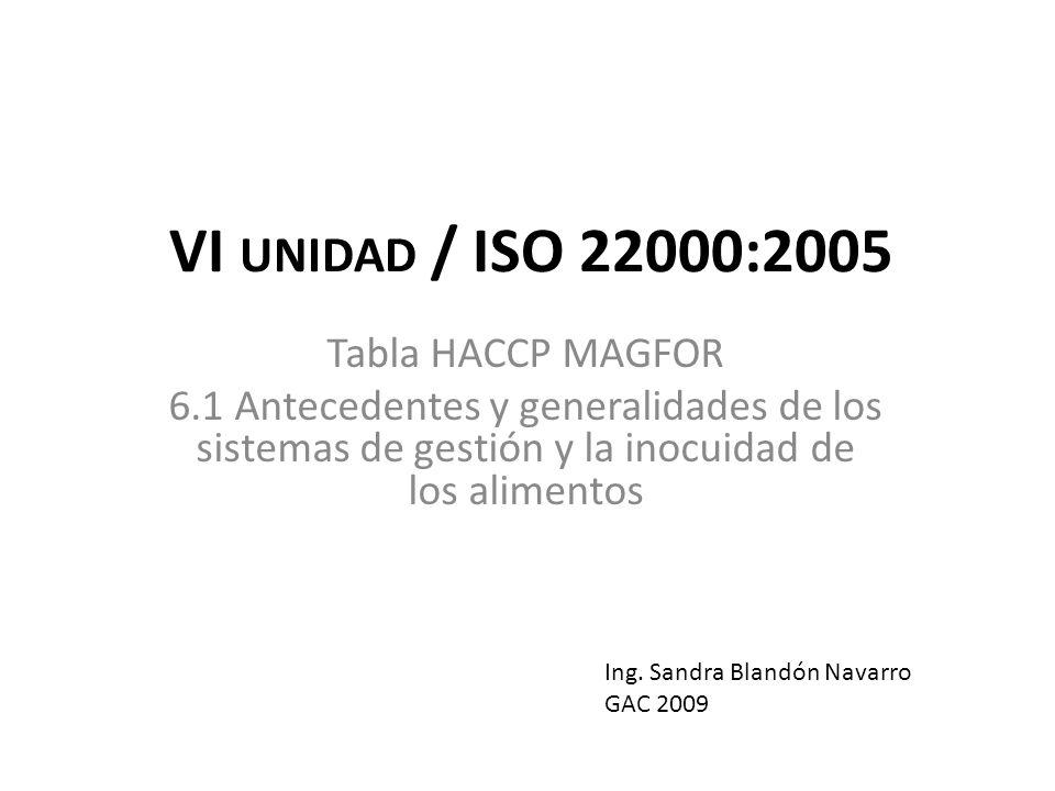 VI unidad / ISO 22000:2005 Tabla HACCP MAGFOR