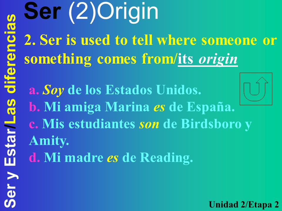 Ser (2)Origin2. Ser is used to tell where someone or something comes from/its origin. a. Soy de los Estados Unidos.