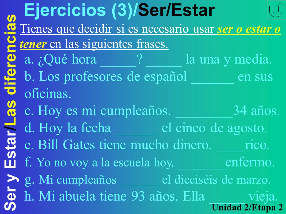 Ejercicios (3)/Ser/Estar