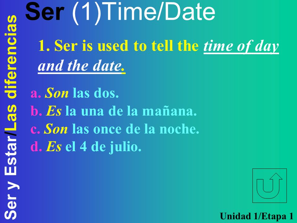 Ser (1)Time/Date 1. Ser is used to tell the time of day and the date.