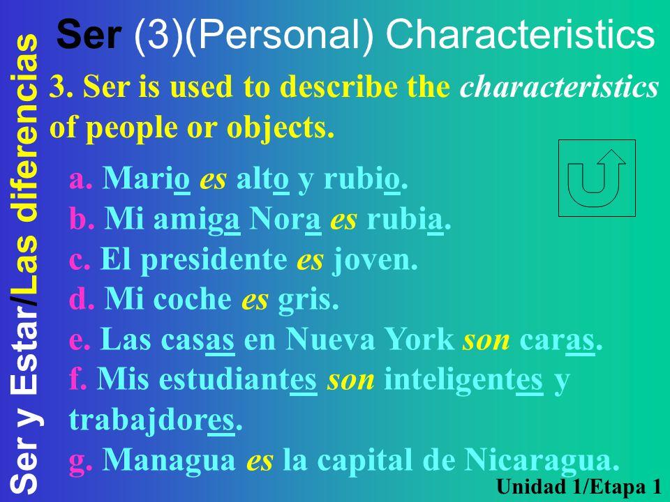 Ser (3)(Personal) Characteristics