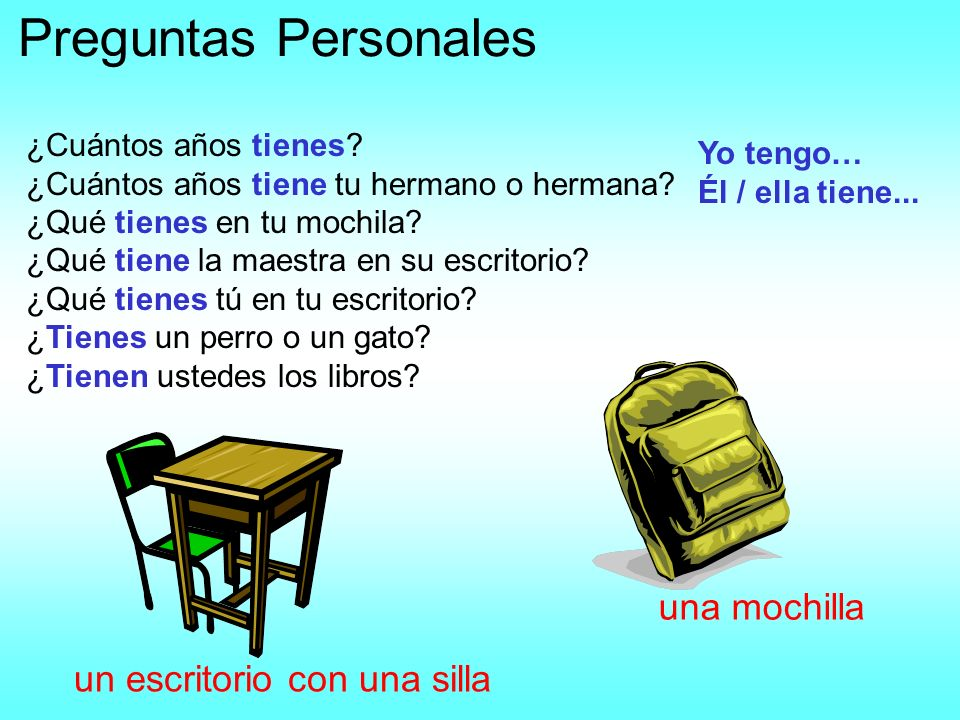 Preguntas Personales una mochilla un escritorio con una silla