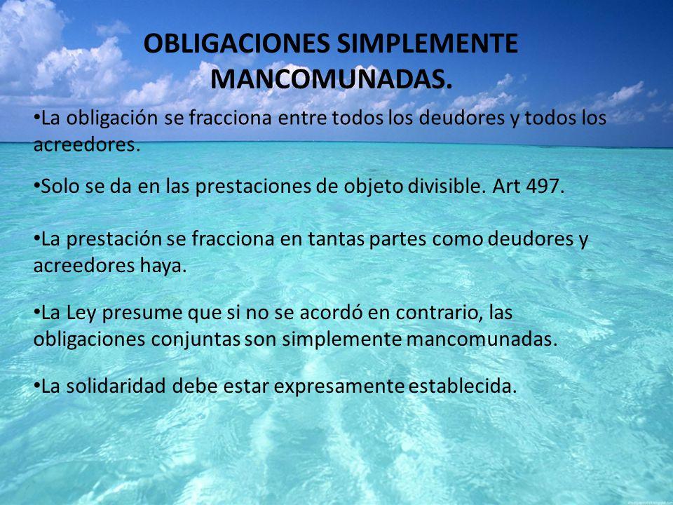 OBLIGACIONES SIMPLEMENTE MANCOMUNADAS.