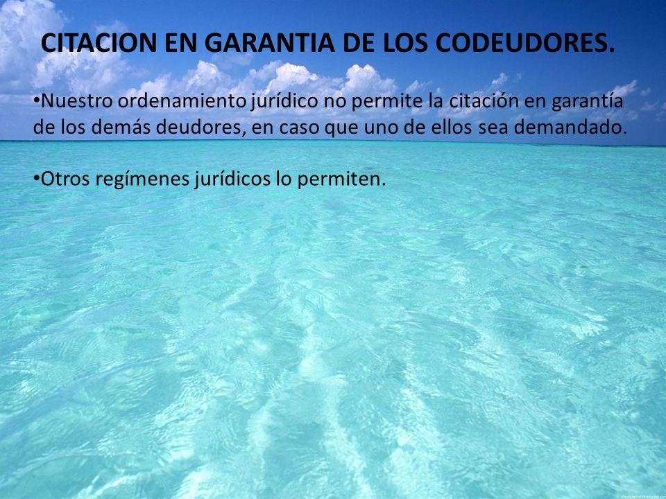 CITACION EN GARANTIA DE LOS CODEUDORES.