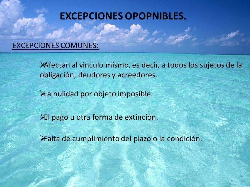 EXCEPCIONES OPOPNIBLES.