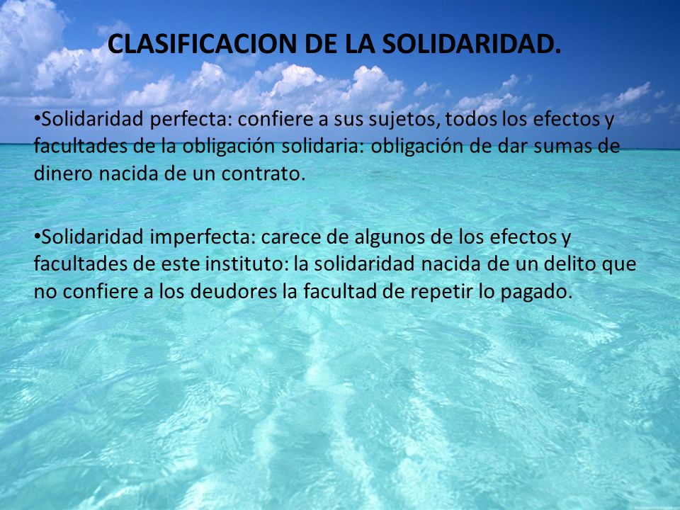 CLASIFICACION DE LA SOLIDARIDAD.