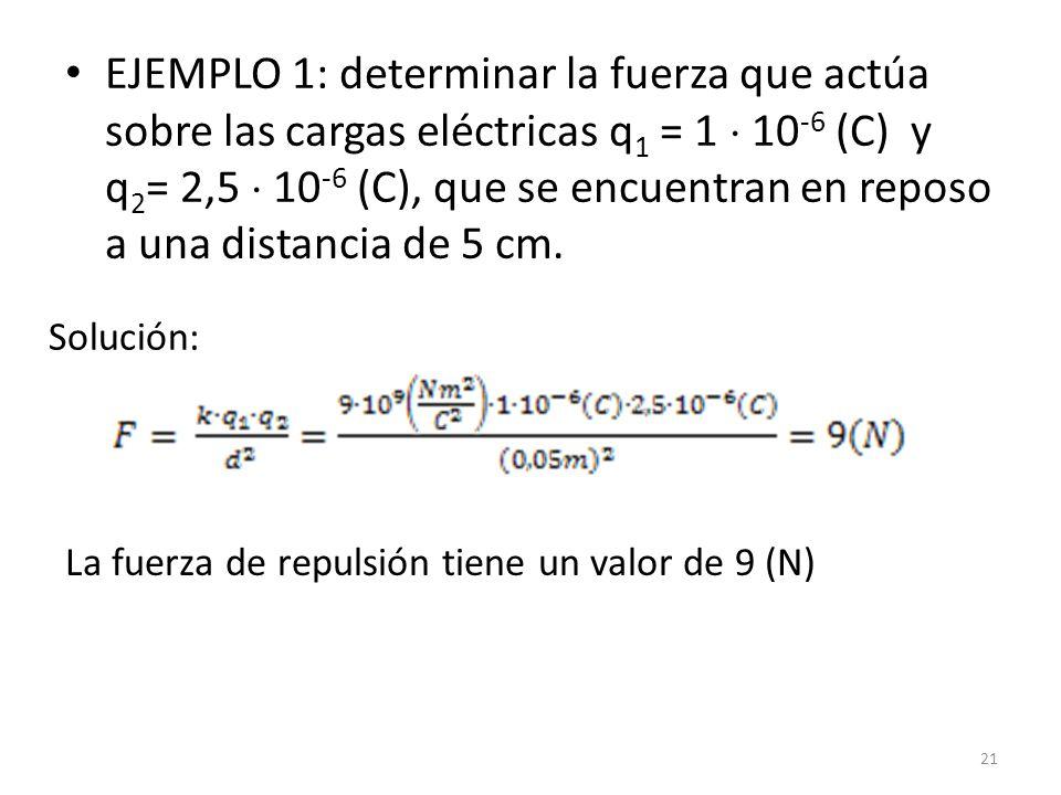 EJEMPLO 1: determinar la fuerza que actúa sobre las cargas eléctricas q1 = 1  10-6 (C) y q2= 2,5  10-6 (C), que se encuentran en reposo a una distancia de 5 cm.
