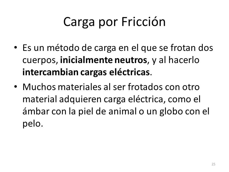 Carga por Fricción Es un método de carga en el que se frotan dos cuerpos, inicialmente neutros, y al hacerlo intercambian cargas eléctricas.