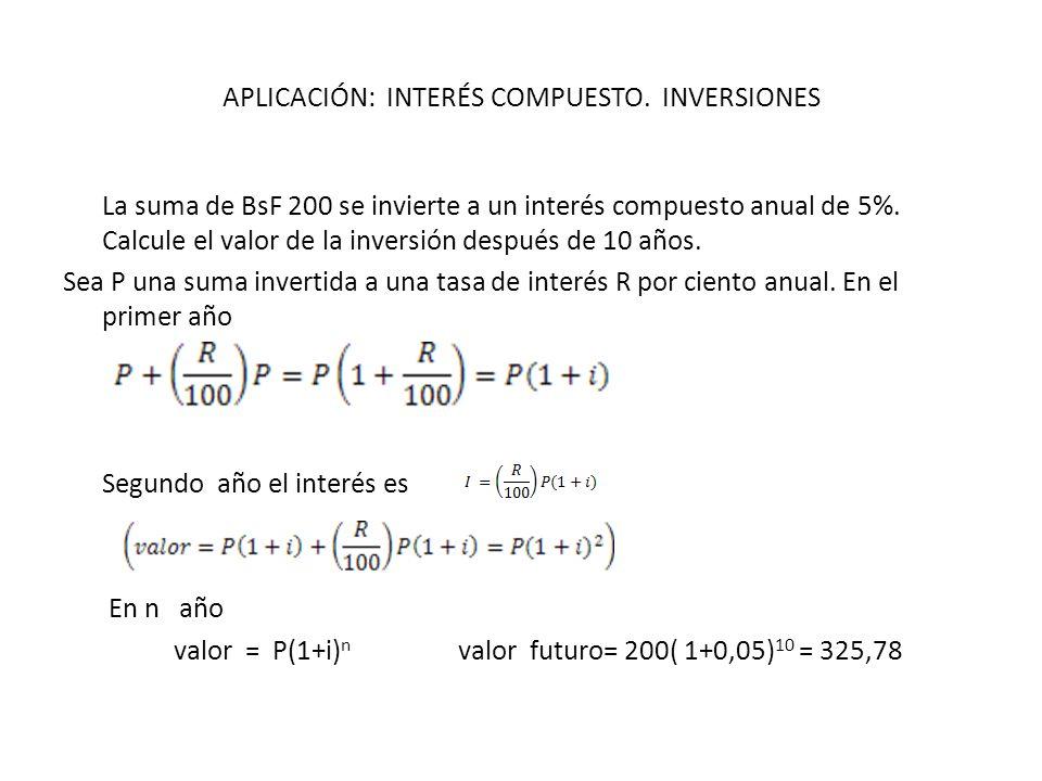 APLICACIÓN: INTERÉS COMPUESTO. INVERSIONES
