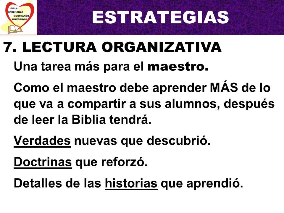 ESTRATEGIAS 7. LECTURA ORGANIZATIVA Una tarea más para el maestro.