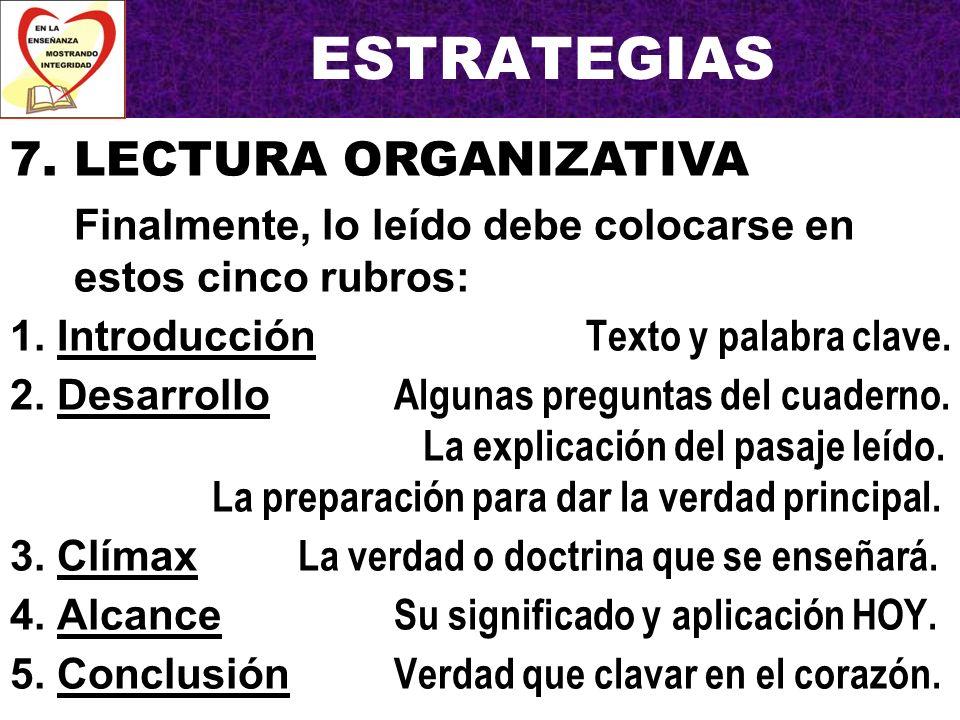 ESTRATEGIAS 7. LECTURA ORGANIZATIVA