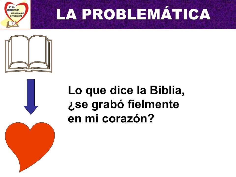 LA PROBLEMÁTICA Lo que dice la Biblia, ¿se grabó fielmente en mi corazón