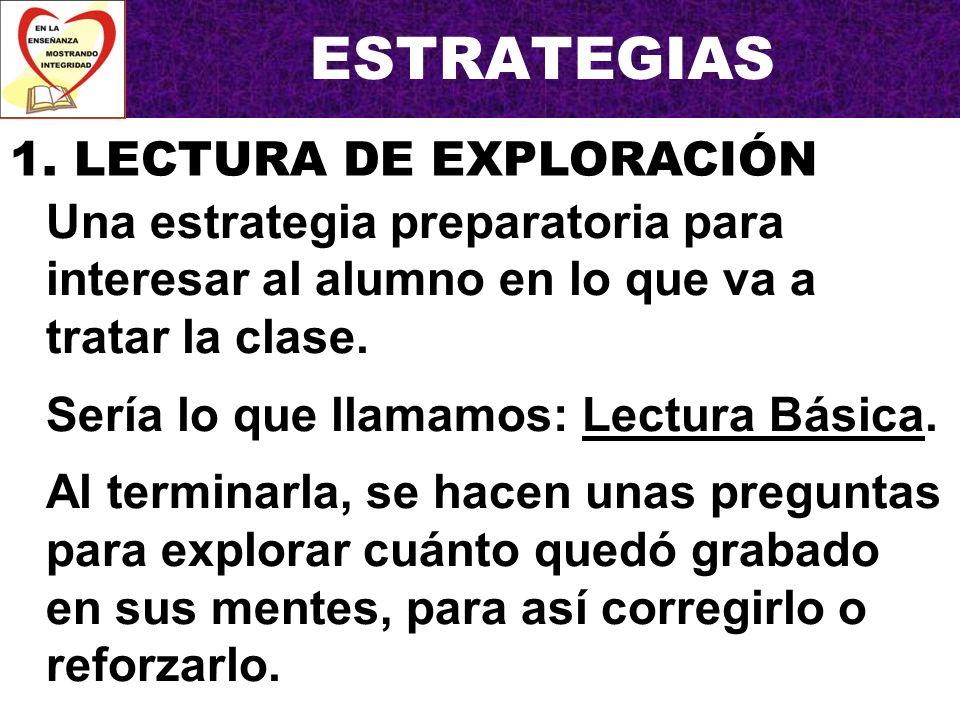 ESTRATEGIAS 1. LECTURA DE EXPLORACIÓN