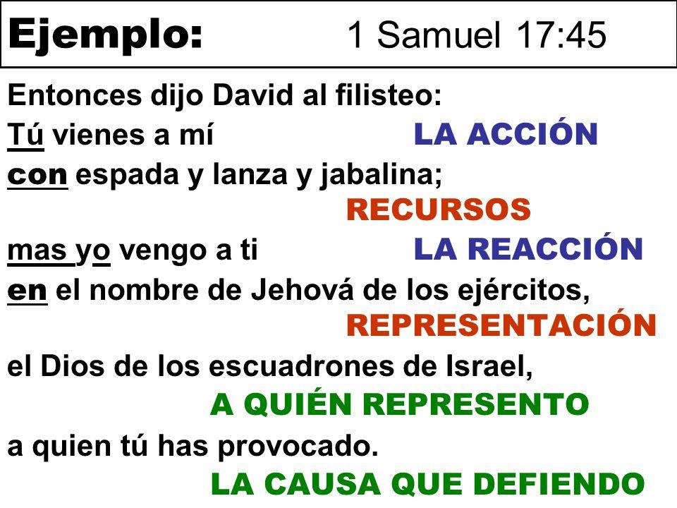 Ejemplo: 1 Samuel 17:45 Entonces dijo David al filisteo: