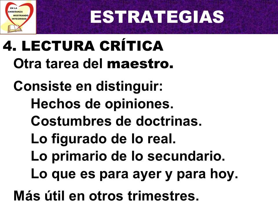 ESTRATEGIAS 4. LECTURA CRÍTICA