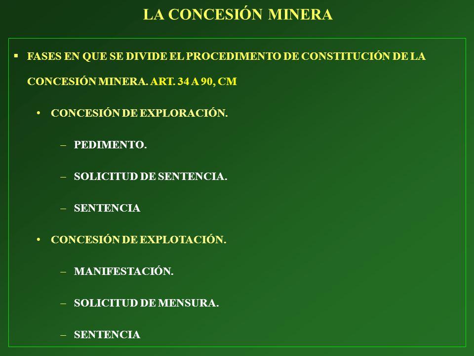 LA CONCESIÓN MINERA FASES EN QUE SE DIVIDE EL PROCEDIMENTO DE CONSTITUCIÓN DE LA CONCESIÓN MINERA. ART. 34 A 90, CM.