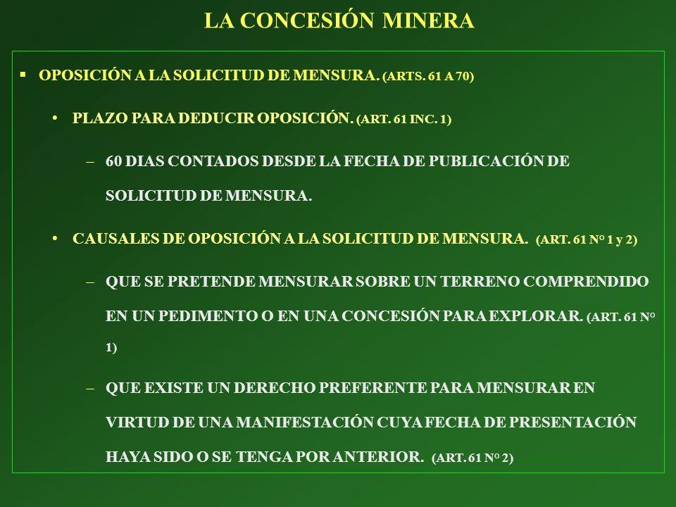 LA CONCESIÓN MINERA OPOSICIÓN A LA SOLICITUD DE MENSURA. (ARTS. 61 A 70) PLAZO PARA DEDUCIR OPOSICIÓN. (ART. 61 INC. 1)