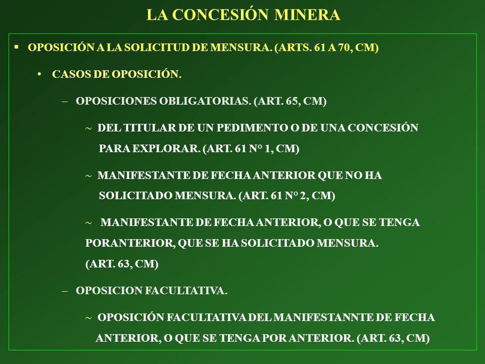 LA CONCESIÓN MINERA OPOSICIÓN A LA SOLICITUD DE MENSURA. (ARTS. 61 A 70, CM) CASOS DE OPOSICIÓN. OPOSICIONES OBLIGATORIAS. (ART. 65, CM)