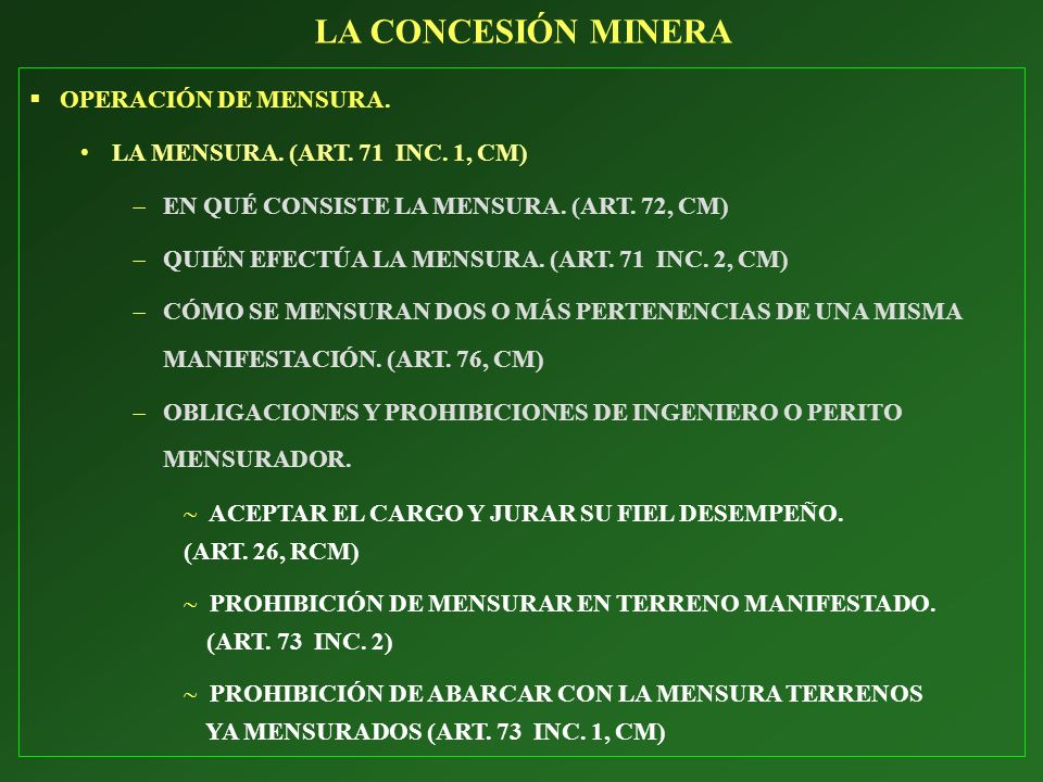 LA CONCESIÓN MINERA OPERACIÓN DE MENSURA.