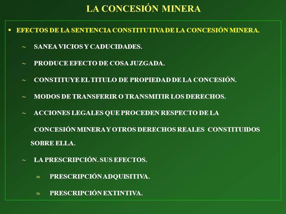 LA CONCESIÓN MINERA EFECTOS DE LA SENTENCIA CONSTITUTIVA DE LA CONCESIÓN MINERA. SANEA VICIOS Y CADUCIDADES.