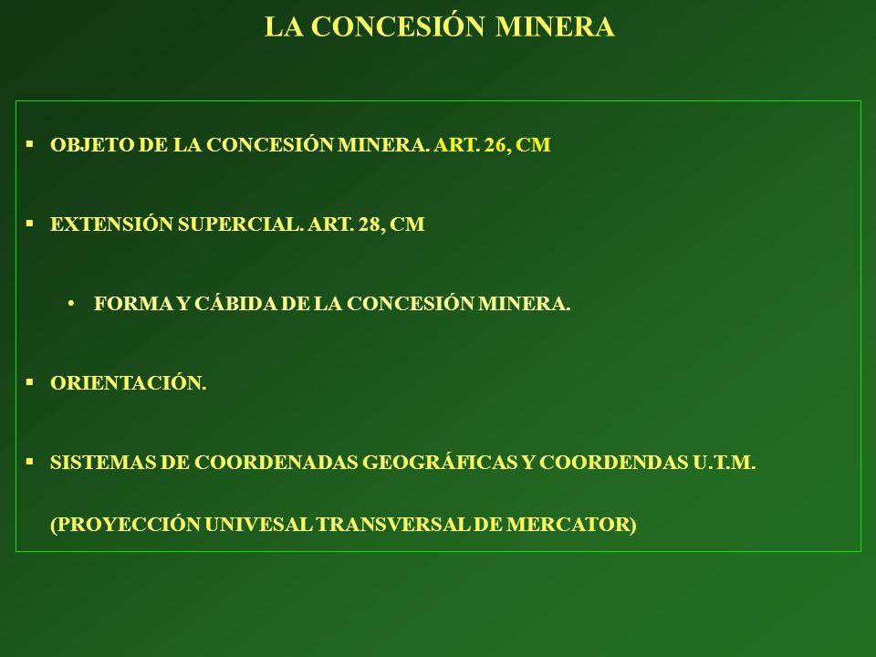LA CONCESIÓN MINERA OBJETO DE LA CONCESIÓN MINERA. ART. 26, CM