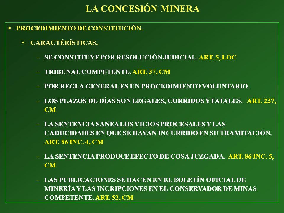 LA CONCESIÓN MINERA PROCEDIMIENTO DE CONSTITUCIÓN. CARACTÉRÍSTICAS.